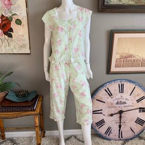 MACY'S 2pc 100% Cotton & lace Floral Pajamas pj's